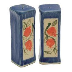 Dark Blue Ceramic Salt and Pepper Shaker Set with Pomegranate Motif