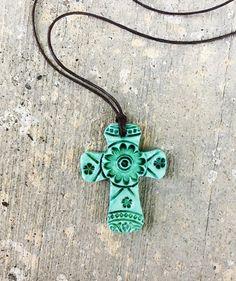 Bohemian Faux Ceramic Christian Cross Pendant Green by GospelHymns