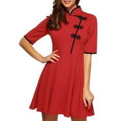 $25.18 Mandarin Collar Half Sleeves Flare Dress