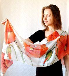 Hand painted silk scarf hand dyed silk shawl by KatarzynaKaMaART, $67.00
