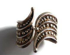Art Deco Era Vintage Taxco Mexico Sterling Silver Beaded Clamper Cuff Bracelet