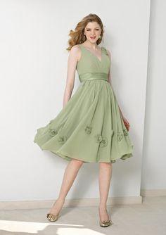 V-neck Knee length Sash Floral Chiffon A-line Bridesmaid Dress