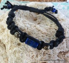Lapis & Pyrite Woven Wristband - handmade crystal energy gemstone jewellery Earth Jewel Creations Australia