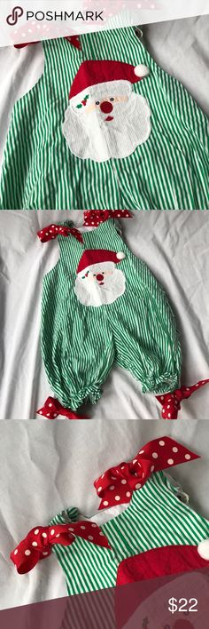 Santa Claus  Bubble, size 12 months. CUTE Christmas bubble by Bailey Boys featuring a Santa Claus appliqué  and their signature red polka dot grosgrain at the button shoulders and legs. Cute ruffle on the back too!!  Diaper snap and elastic legs. Size 12 months . Length 20 inches.  Bailey Boys One Pieces