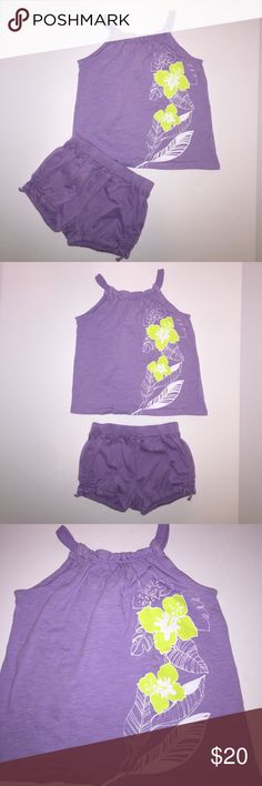 Cute 2-piece Purple Outfit Matching Top & Shorts Cute 2-piece Purple Outfit Matching Top & Shorts. Top is size 3T Old Navy and Baby Gap shorts are size 2. Top has cute flower screen print. Shorts have ruched sides with Faux bow tie on each of shorts. Pull on elastic waist. Cute outfit!! New condition! GAP Matching Sets