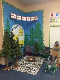Teaching kids with an enjoyable camping theme? Here are some outdoor camping style lesson strategies, activities ideas and more. Whether you are establishing a year long class decoration scheme or jus Reading Corner Classroom, Classroom Setting, Future Classroom, Classroom Ideas, Camp Theme Classroom, Preschool Camping Theme, Preschool Classroom Themes, Kindergarten Reading Corner, Preschool Reading Area