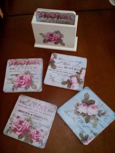 Bardak altligi Decoupage Tutorial, Decoupage Box, New Crafts, Diy And Crafts, Pearl And Lace, Tile Coasters, Shabby Chic, My Favorite Things, Creative