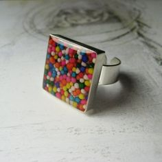 Candy Sprinkle Cupcake Candy Resin Ring SQUARE Silver Overlay Bezel High Quality Funky Jewelry