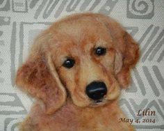Golden Retriever Puppy –  Custom Needle Felted Dog Portrait