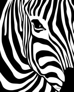 This artwork of zebra stripes is considered as a pattern. It has a curvy and unique patterns of zebra stripes while the focal point is the zebra's eye. Arte Zebra, Zebra Kunst, Zebra Art, Stencil Animal, Stencil Art, Stencils, Bird Stencil, Stencil Patterns, Op Art