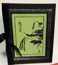 handmade card from Maxam Made: Oriental Stamp Arts ... black plus one color ... set of cards with different colors and images but the same black papers and design ...
