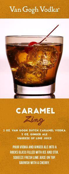 Get your fix of caramel vodka with a Van Gogh Caramel Zing.