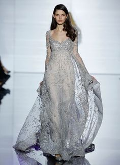 ZUHAIR MURAD   Long sleeved, empire cut caftan in Chantilly lace and bronze silk tulle with sequin and crystal embroidery