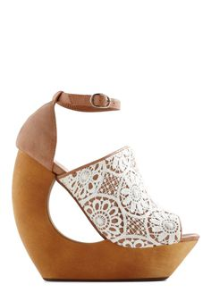 Written in Cursive Wedge by Jeffrey Campbell - Wedge, Brown, White, Crochet, Cutout, High