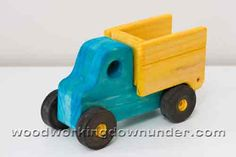 Tiny tipper truck painted with food coloring.