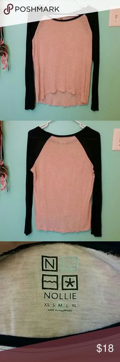 Nollie Long sleeve Top Light heathered pink-peach color, with navy blue sleeves. Light weight and soft. Never worn. Excellent condition. None of pics show color well. It's more pic 3 and 4. Not as dark as what is shown in 1 and 2 pics. Nollie Tops Tees - Long Sleeve
