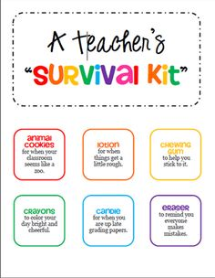 Teacher Survival Kit Tags - Gift for a New Teacher or Student Teacher from iTeachSTEM on TeachersNotebook.com -  (6 pages)  - Collect items and attach these colorful tags before placing in a bag, basket, or box. This makes a great gift for a new teacher or a student teacher.