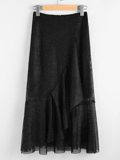 MakeMeChic - MAKEMECHIC Asymmetric Flounce Trim Metallic Fishnet Skirt - AdoreWe.com