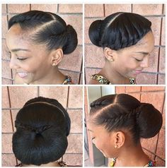 60 Easy and Showy Protective Hairstyles for Natural Hair Black Low Bun Updo Protective Hairstyles For Natural Hair, Natural Hair Updo, Natural Hair Care, Natural Hair Styles, Styling Natural Hair, Natural Big Chop, African Hairstyles, Afro Hairstyles, Wedding Hairstyles