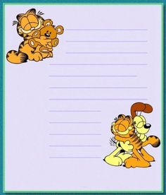 Ou do Garfield. Stationary Printable, Printable Lined Paper, Planner Pages, Planner Stickers, Garfield Wallpaper, Garfield And Odie, Garfield Cartoon, Printable Recipe Cards, Acrylic Wall Art
