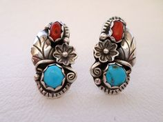 Stud Post Earrings, Sterling Silver, Turquoise and Coral by Navajo Fannie Platero Chavez, Native American, Boho Southwestern, ID 451330072 by LaBelleBead on Etsy