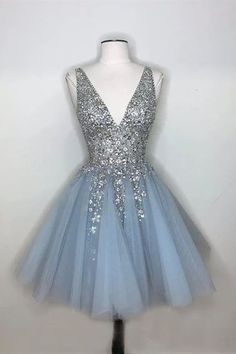 Sparkly A-line Deep V-neck Light Blue Short Homecoming Dresses . Read more The post Sparkly A-line Deep V-neck Light Blue Short Homecoming Dresses appeared first on How To Be Trendy. Blue Homecoming Dresses, Cute Prom Dresses, Dresses For Teens, Pretty Dresses, Beautiful Dresses, Graduation Dresses, Elegant Dresses, Sexy Dresses, Fashion Dresses