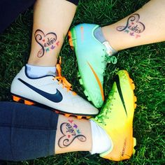These three sisters have cute colorful birds to represent each sister with a heart and script black line.