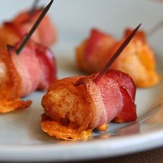 Bacon wrapped tots. Nuff said.