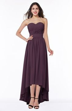 Plum Classic Trumpet Strapless Half Backless Chiffon Bridesmaid Dresses