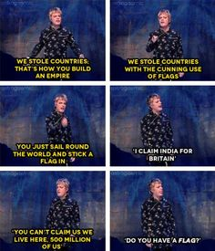 """Eddie Izzard & the cunning use of flags. """"Sorry, no flag, no country!"""""""