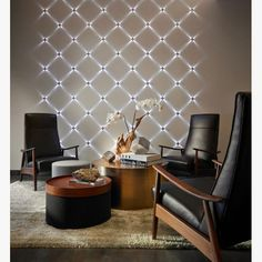 Textured wall with lights. Tell me you don't want this! Accent Lighting, Cool Lighting, Lighting Design, Modern Lighting, Outdoor Lighting, Home Map Design, House Design, Living Room Lounge, Room Lights