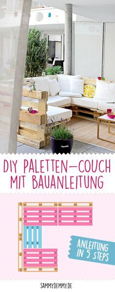 DIY Paletten Sofa www.de Diy Projects For The Home DIY Paletten sofa wwwsammydemmyde Diy Sofa, Diy Pallet Sofa, Diy Furniture Couch, Diy Outdoor Furniture, Diy Pallet Projects, Pallet Furniture, Furniture Design, Furniture Removal, Garden Projects
