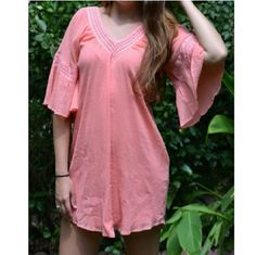 SALE! Pink Pansy Loose Fit Dress The details of this dress make it so lovely! Bell sleeve with crochet, pretty pink color, lined, loose fit   Available in small medium and large   Final price, sale item!  Please don't buy this listing, I will make one for you! Twang Boutique  Dresses Mini