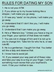 rules for dating my son - Google Search