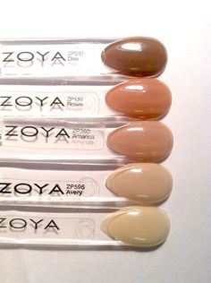 Neutral/beige ombre nail look featuring (from top to bottom) Zoya Nail Polish in Dea, Flowie, Amanda, Avery and Cho.