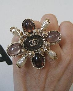 Chanel XLarge Gold Metal CC Logo Stones Pearls Ring
