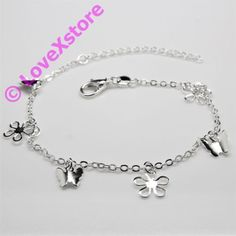 925-Sterling-925-Silver-Plated-Flower-Butterfly-Chain-Anklet-Charm-Anklets-pc
