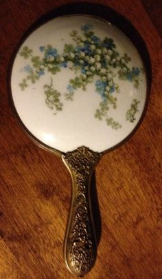 Antique Vintage Hand Mirror Porcelain Top Lily of Valley - Brass Frame & Handle