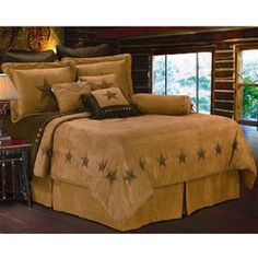 Luxury Western Star Bedding Comforter Set with square Pillows and neckroll  - Available in Twin, Full, Queen & King Size  #DelectablyYours Western Bed and Bath Decor