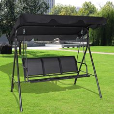 Costway Outdoor Patio Swing Canopy 3 Person Canopy Swing Chair Patio Hammock Black Patio Furniture & Classic Accessories Veranda Patio Canopy Swing Cover - 78