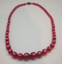 Hot Pink Fuchsia Moonglow Lucite Necklace Sterling Clasp
