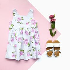 Buy any two of our Angelina Dresses for £50! #dress #flatlay #floral #fashion #summer #kids #children #sandals #holiday