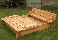 pallet furniture - outdoor bench and sand box for the kiddo to play in!!!!! ;)