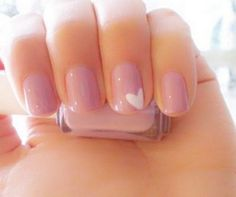 Natural nude pink nails with white heart detail wedding nails