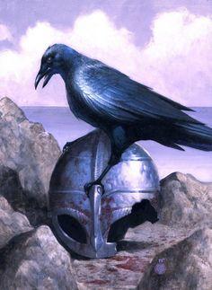 Crows Ravens:  A raven on a helmet.