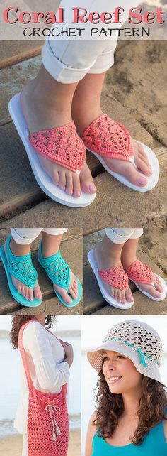 Lovely summer crochet patterns from Annie's. Gorgeous flip flops, beach bag & sun hat. So beautiful and nice small projects for the warm weather ahead! #Annies #ad