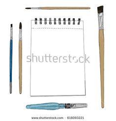 Vector illustration of artist creative set sketchbook and brushes