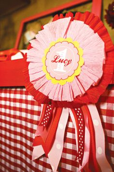 Adorable Sweetie Pie County Fair {Fall Themed First Birthday}. Crepe paper and ribbon rosette. Other lovely examples too Summer Birthday, First Birthday Parties, 3rd Birthday, Birthday Party Themes, First Birthdays, Themed Parties, Birthday Ideas, County Fair Theme, County Fair Birthday