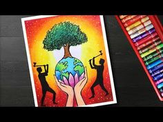 How to draw save trees drawing – Poster making on save trees - Modern Poster Drawing, Save Earth Drawing, Poster Making, Art Drawings For Kids, Drawings, Oil Pastel Art, Tree Drawing, Mother Earth Art, Earth Drawings
