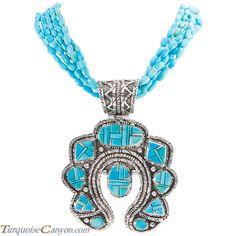Navajo Native American Sleeping Beauty Turquoise Necklace Pendant SKU#229004